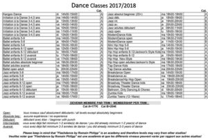 dance classes 2017-2018
